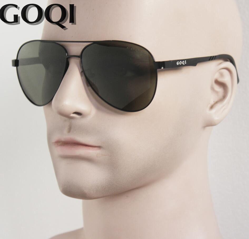 GOQI Brand ICONIC Sunglasses ,Classical Pilot 61MM Polarized Men Sunglasses ,Flat Metal Durable Luxury Full Set Packing Gafas