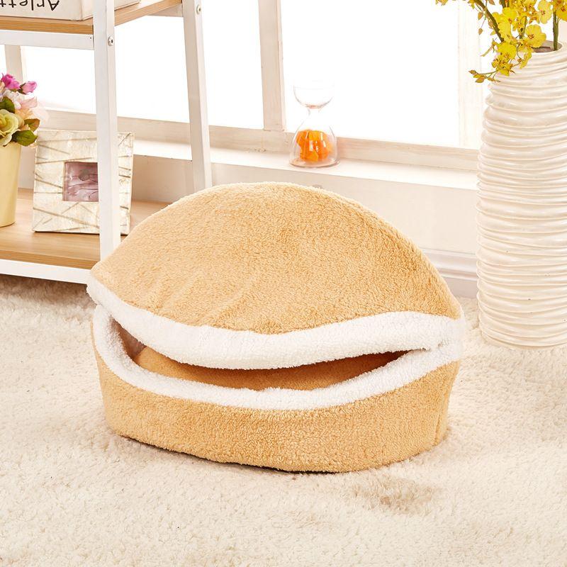 YUYU Warm Cat Bed Dog House Hamburger bed Disassem Blability Windproof Pet Mat Puppy Nest Shell Hiding Burger Bun For Winter