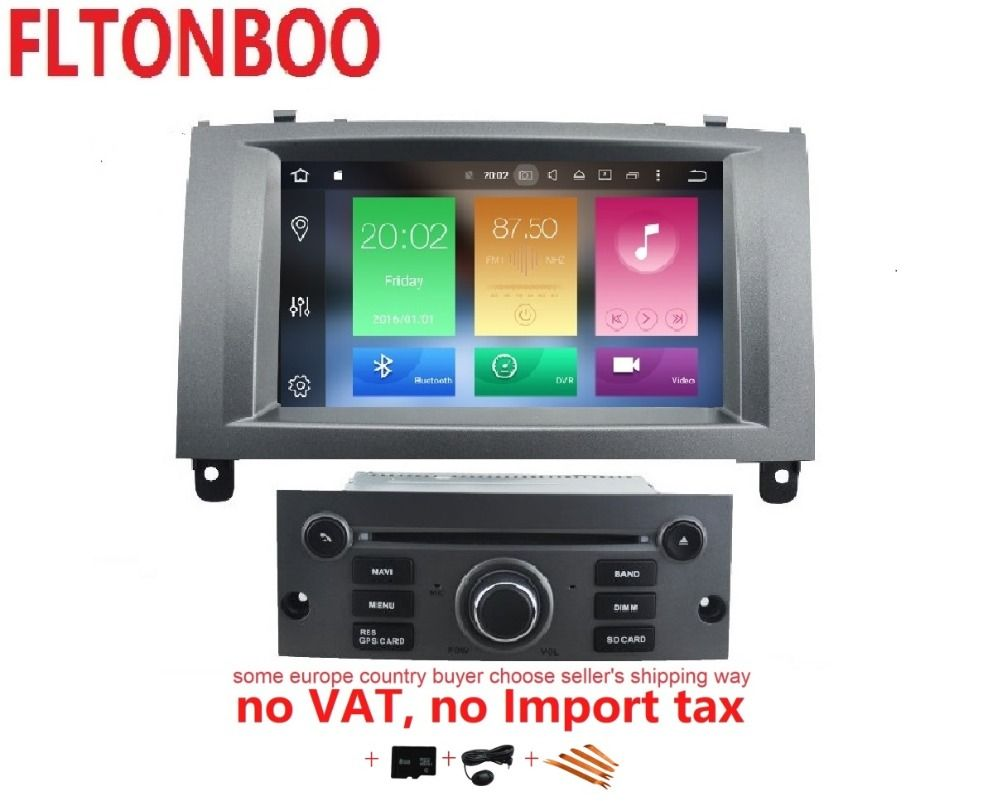 7 inch 2 din 4GB RAM 32GB ROM android 8.0 car gps navigation for Peugeot 407 2004-2010,wifi,octa core