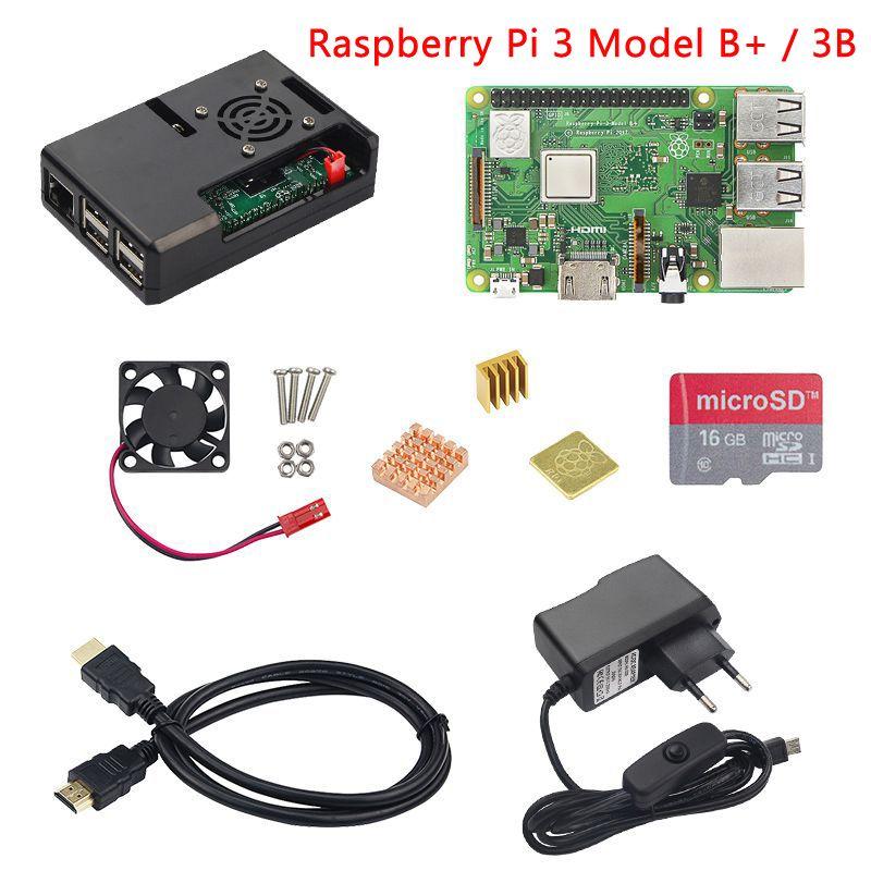 Raspberry Pi 3 Modèle B + (B Plus) ou Framboise Pi 3 Modèle B + ABS Cas + Ventilateur + Carte SD + Dissipateur de Chaleur + Puissance Adaptateur + Câble HDMI