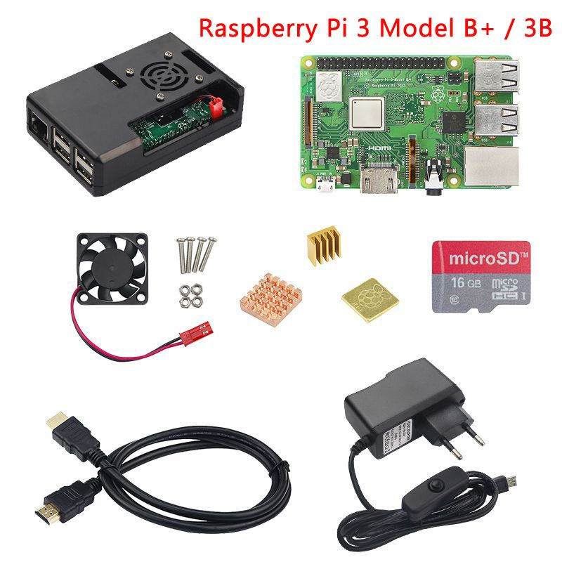 Raspberry Pi 3 Model B+ Plus kit Raspberry Pi 3 Model B+ABS Case+CPU Fan+16G SD Card+Heat Sink+5V 2.5A Power Adapter+HDMI Cable