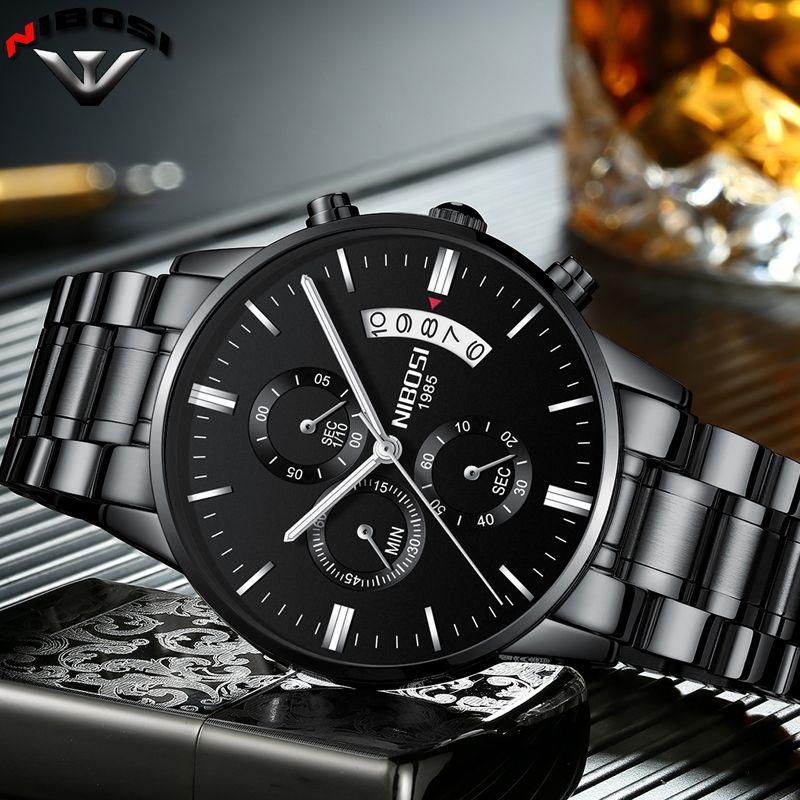NIBOSI Relogio Masculino A Prova D ' gua Grande Watches Men Luxury Brand Full Steel Quartz Watches Men Leather Chronograph Watch