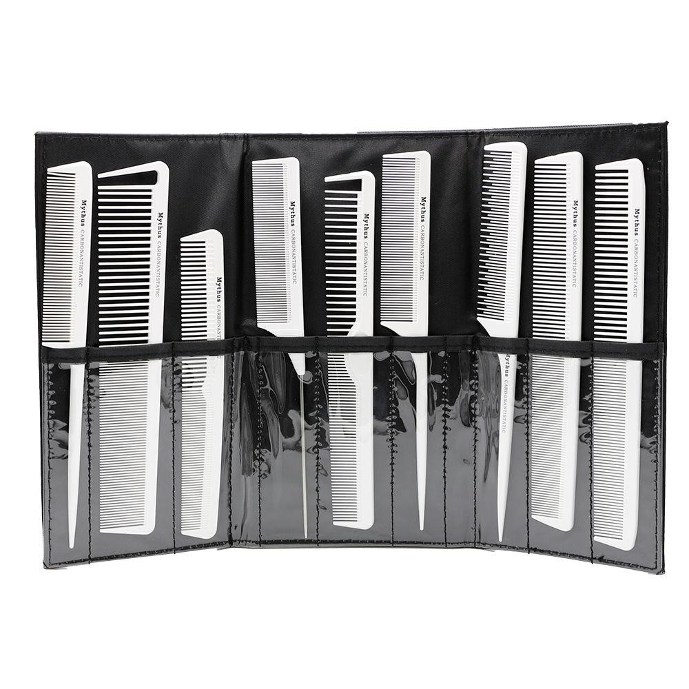9 pièces blanc carbone antistatique coiffeur peigne résistant à la chaleur coiffure carbone coupe peigne Pro cheveux coupe Kit outil de style
