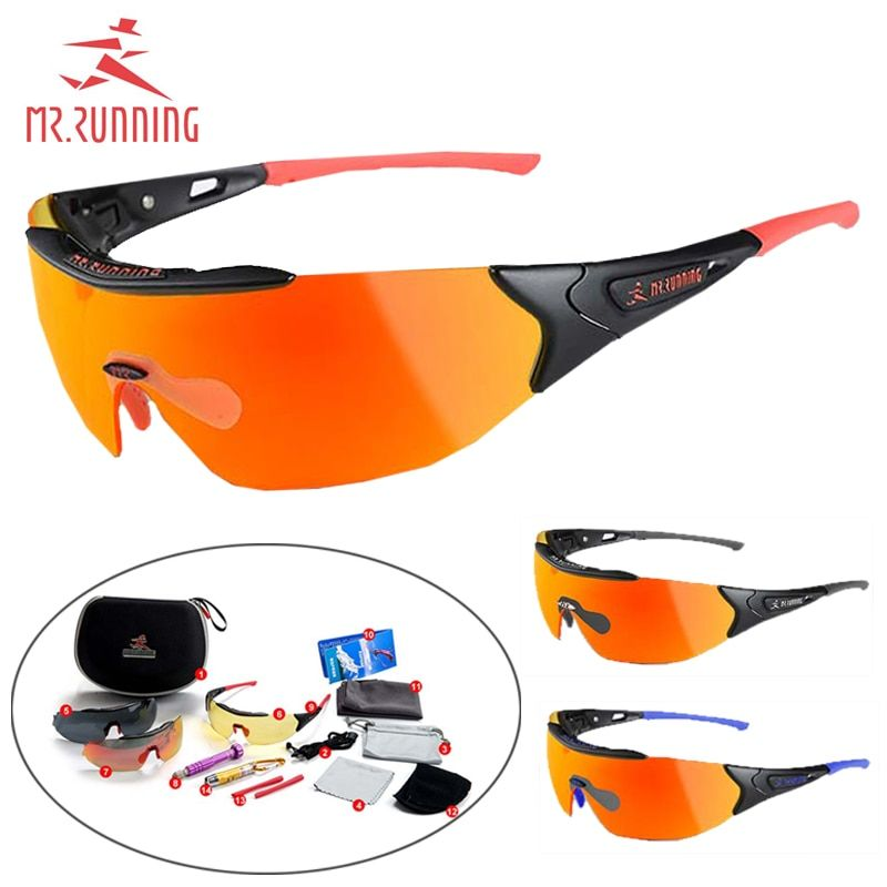 MR.RUNNING Photochromic Cycling Glasses Polarized AerodynamicDiscoloration Sunglasses for Men&Women Bike Bicycle Fishing Goggles