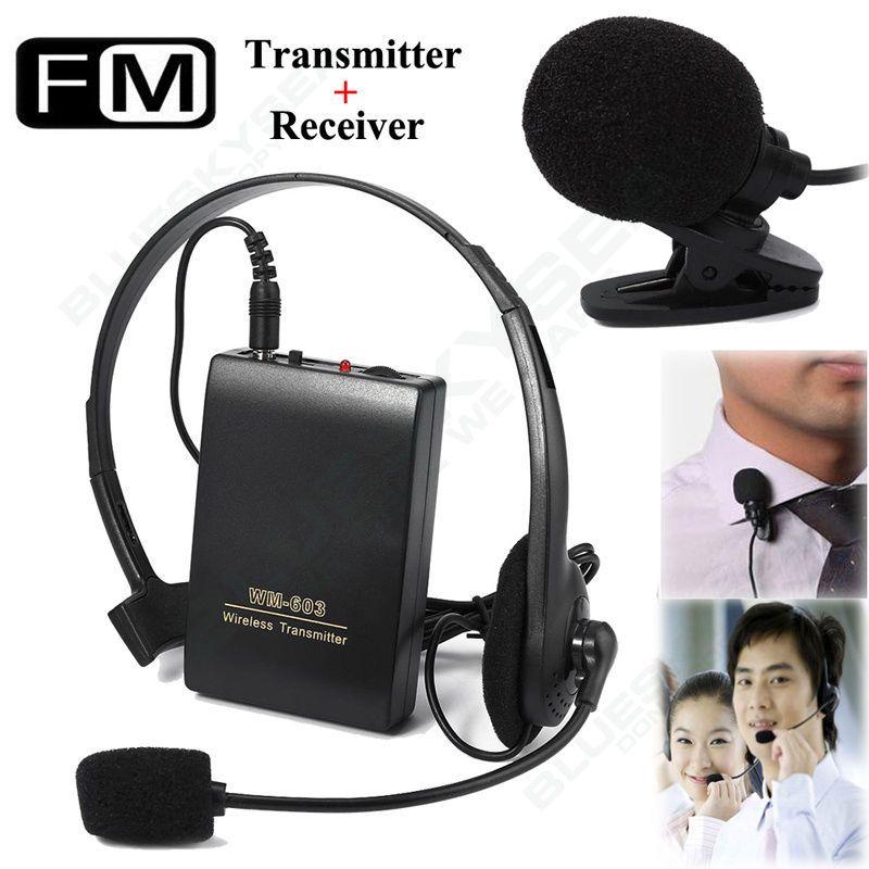 Livraison gratuite! transmetteur FM sans fil récepteur pince de revers casque Mini Microphone système de micro