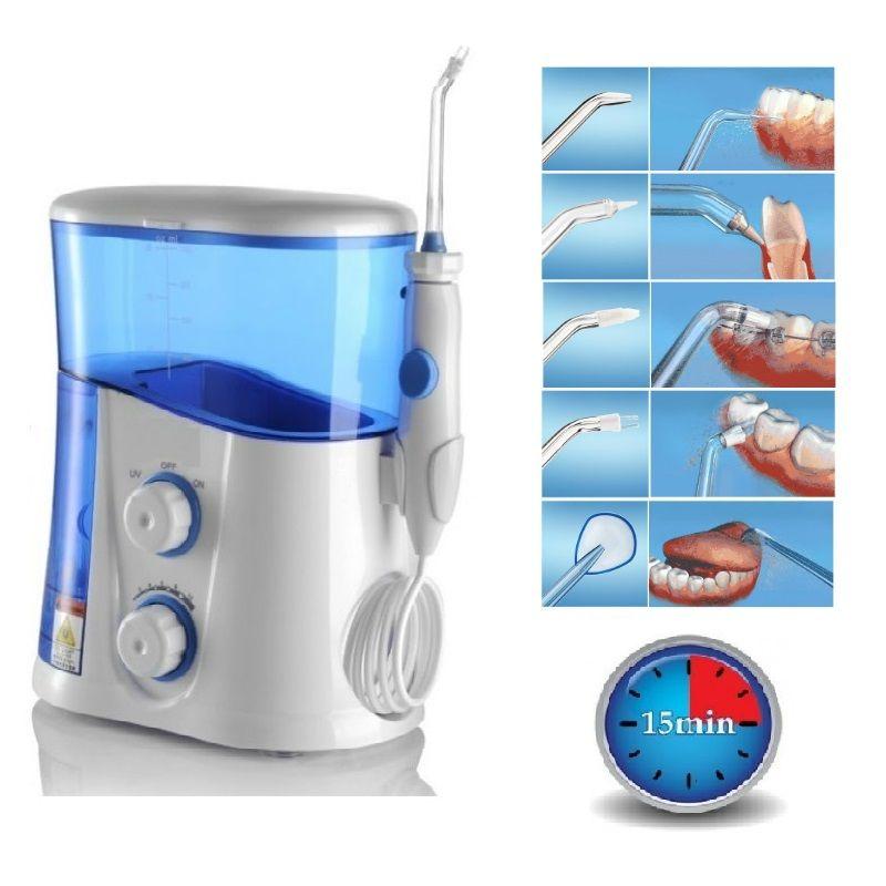 Oral Irrigateur et Dentaire Eau Flosser avec UV Sanitizer et 1000 ml Réservoir D'eau + 7 Conseils avec Réglable Pression