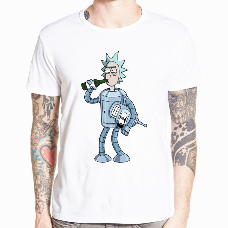 2018 hommes Rick et Morty drôle Anime T-shirt décontracté à manches courtes col rond homme été blanc T-shirt Swag T-shirt HCP134