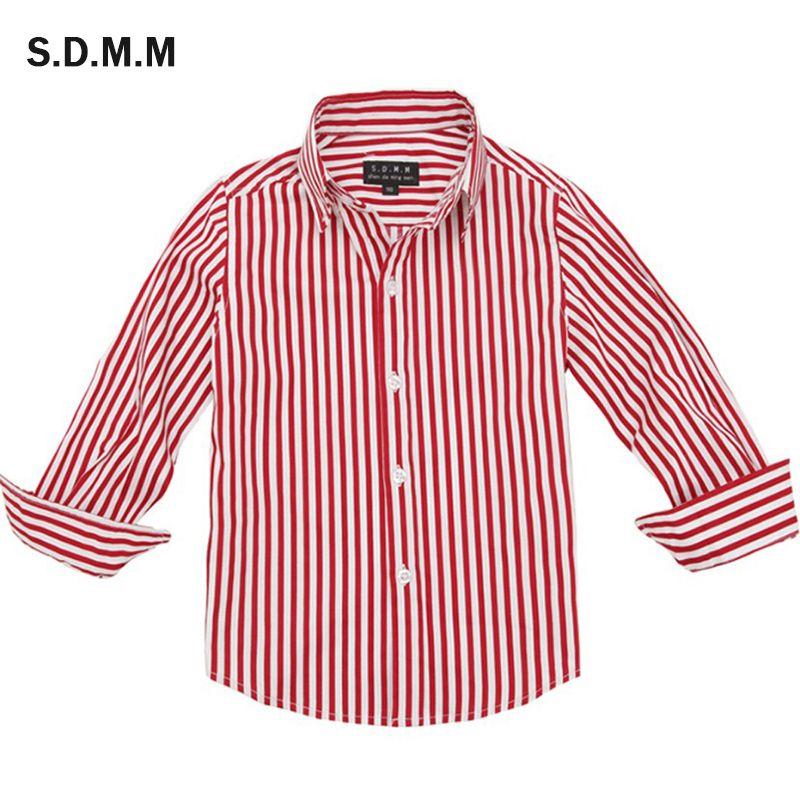 Детская рубашка из чистого хлопка на весну и осень, От 1 до 13 лет Детская одежда Повседневная рубашка с длинными рукавами для мальчиков-студе...