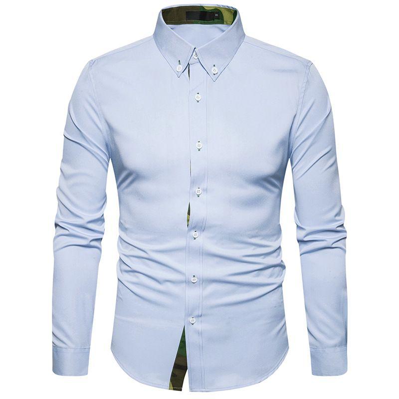 2018 Hot sales Men shirts Tide fashion Lapel camouflage Men's Casual long sleeve shirt A7