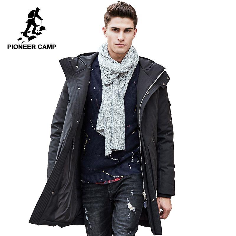 Pioneer Camp Russische winter unten jacke männer marke kleidung Top qualität Lange warme Starke 90% Weiße ente unten mantel Männlich 611607