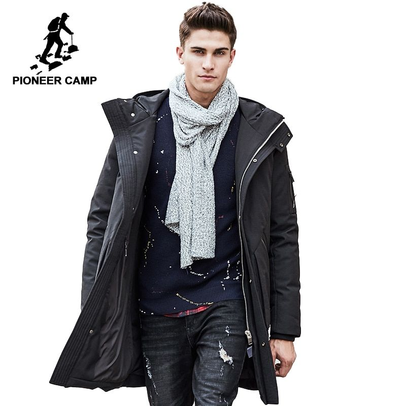 Pioneer Camp Russian winter down jacket men brand clothing Top quality Long warm Thick 90% White duck down coat Male 611607