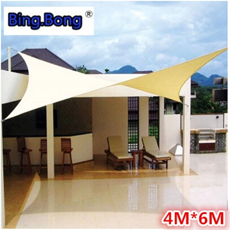 Outdoor sun shade sail PU waterproof cloth 4x6m canvas awning canopy beach shading gazebo toldo garden swiming pool balcony hot