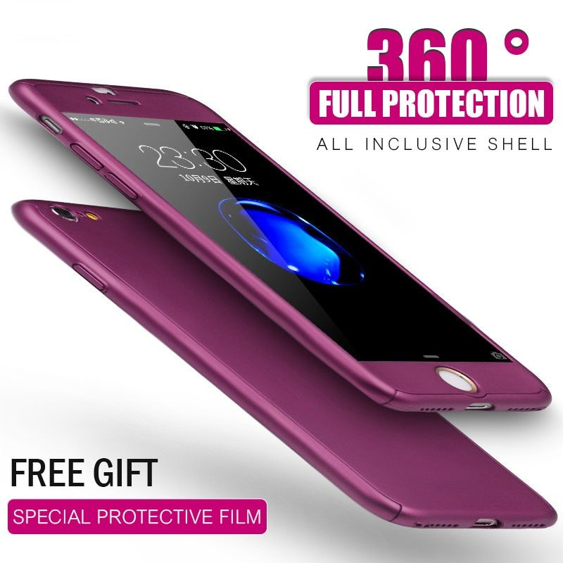 H&A 360 Protection Phone Case For iPhone 6 6s 7 8 Plus Hard Back Protective Full Cover For iPhone 7 8 6s Plus Cases + Glass