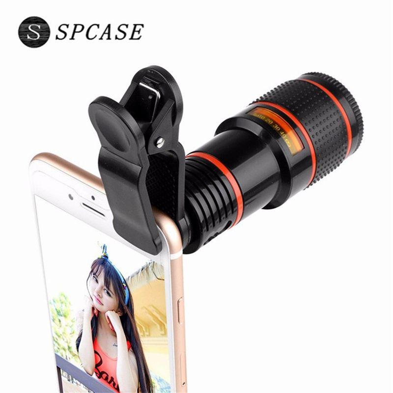 SPCASE Universal Clip 12X Zoom Telescop Phone Lens for Apple iPhone Samsung Huawei SONY Xiaomi External Telephoto Camera Lens