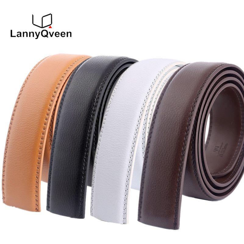 LannyQveen sans boucle ceinture 3.5 cm blanc rouge marron 5 couleur en cuir véritable automatique ceintures sangle de corps Designer hommes ruban ceinture