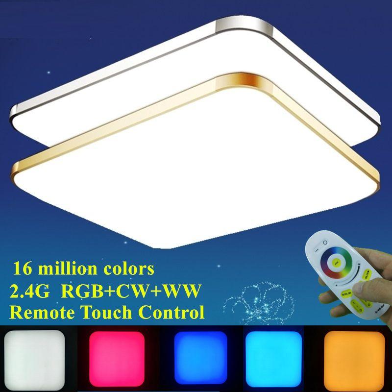 Moderne coloré RGB + blanc froid + blanc chaud 2.4G RF télécommande LED plafonnier Dimmable Smart plafonnier pour salon