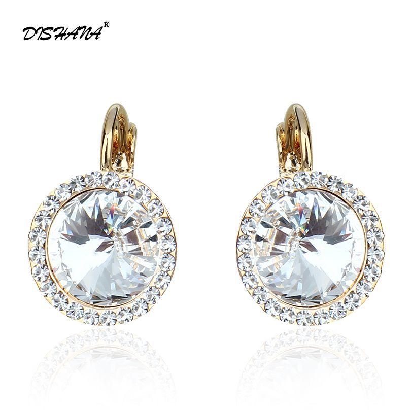 Nouveau cristal Dangle boucle d'oreille mode bijoux élégant autrichien strass mode femme boucles d'oreilles meilleur amis (E0073)