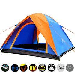 Kualitas 3-4 Orang Double Layer Camping Tenda Semua Cuaca Yg Tahan Hujan Double Pintu Outdoor Tenda untuk Berkemah Pesta 200X180X140 Cm