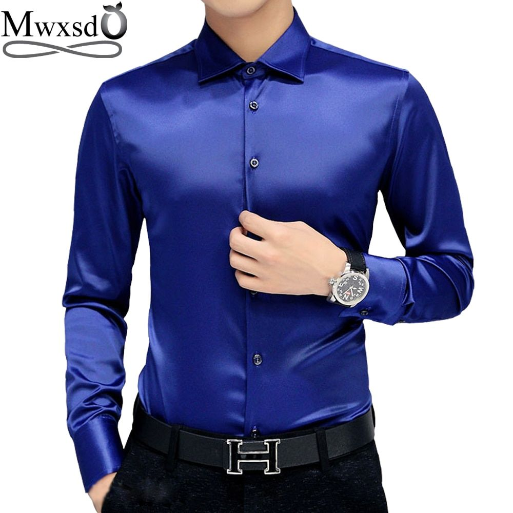 Mwxsd marca Camisas de vestir de Lujo Del Banquete de Boda del smoking de Los Hombres Camisa de Manga Larga Camisa de Los Hombres de Seda suave Mercerizado Camisa de negocios