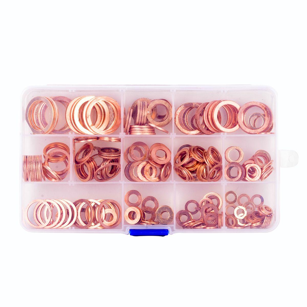 280 teile/satz Sortiment Massivem Kupfer Washer Dichtring Kupfer Dichtungssatz mit Fall 12 Größen
