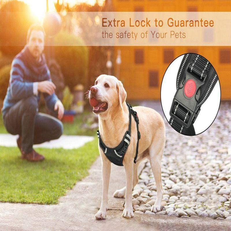 Harnais pour chien 3 M harnais pour animaux de compagnie sans traction gilet extérieur réglable gilet Oxford réfléchissant chiens contrôle facile pour petits chiens de taille moyenne