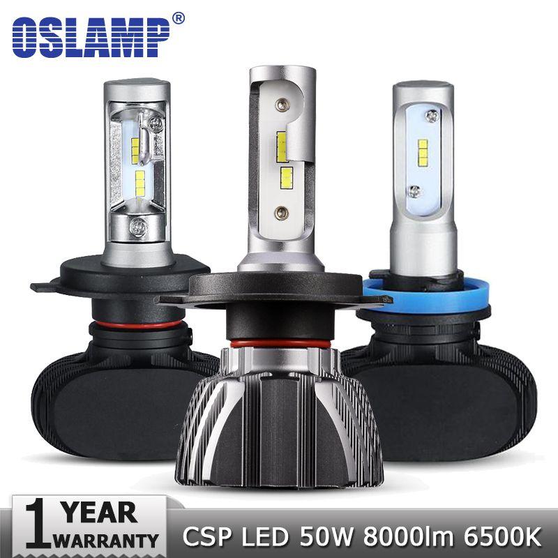 Oslamp H4 H7 H11 H1 H3 9005 Car LED <font><b>Headlight</b></font> Bulbs Hi lo Beam CSP Chips 50W 6500K 8000lm <font><b>Headlights</b></font> Auto Led Headlamp 12v 24v