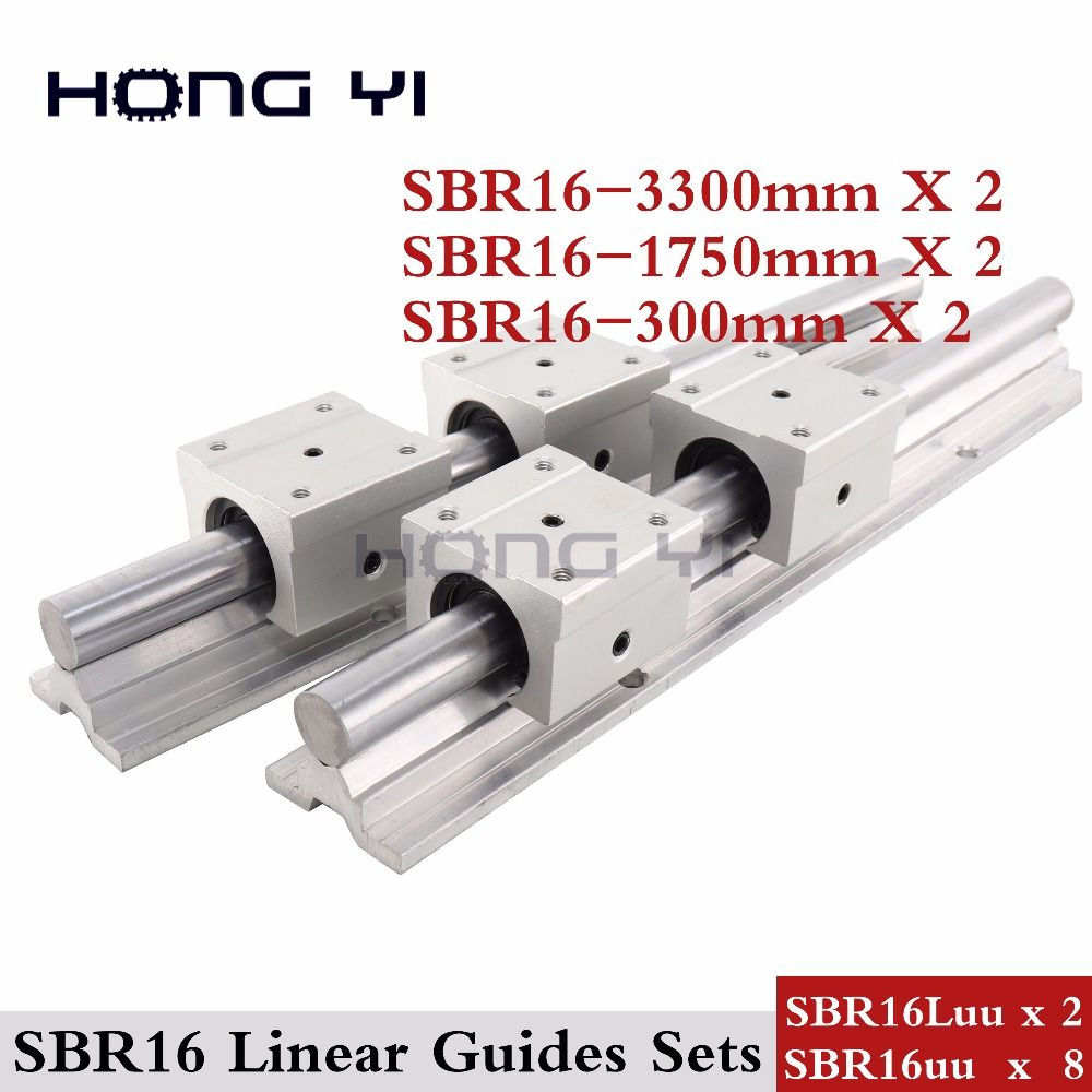 2 pcs SBR16 L =3300/1750/300mm Linear Rails + SBR16UU SBR16Luu straight-line motion block (can be cut any length)