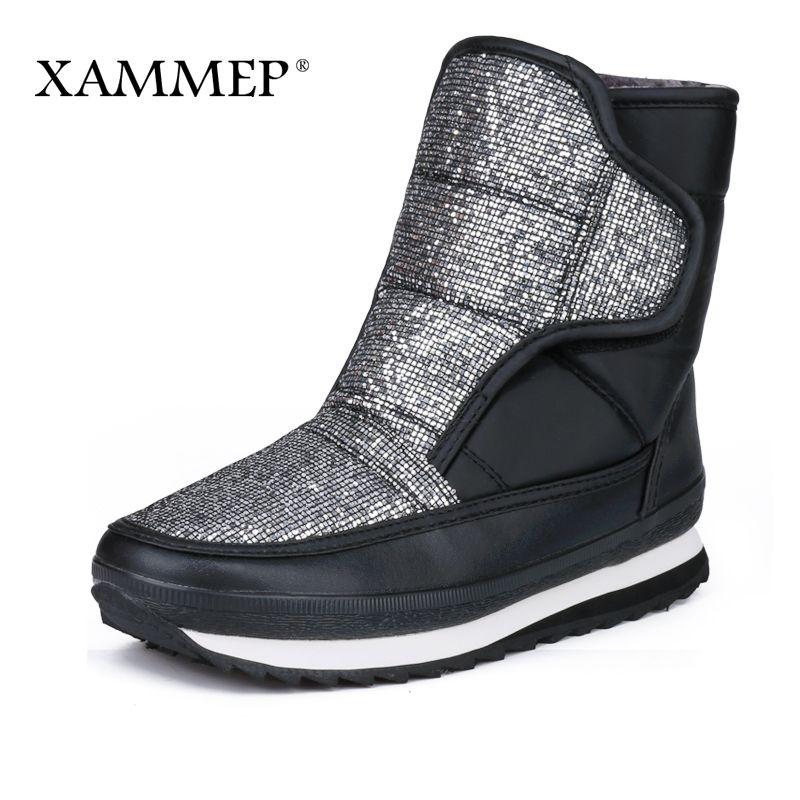 Xammep Women's Winter Shoes Big Size High Quality Brand Women Shoes Plush And Wool Warmful Women Winter Boots Mid Calf Boots