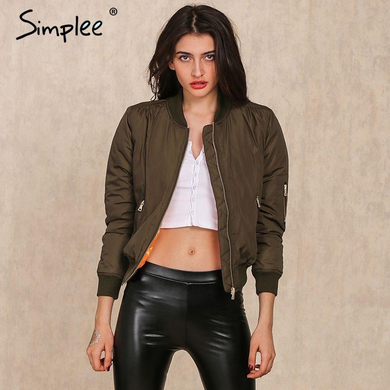 Simplee Apparel Winter parkas cool basic bomber jacket Women Army <font><b>Green</b></font> down jacket coat Padded zipper chaquetas biker outwear