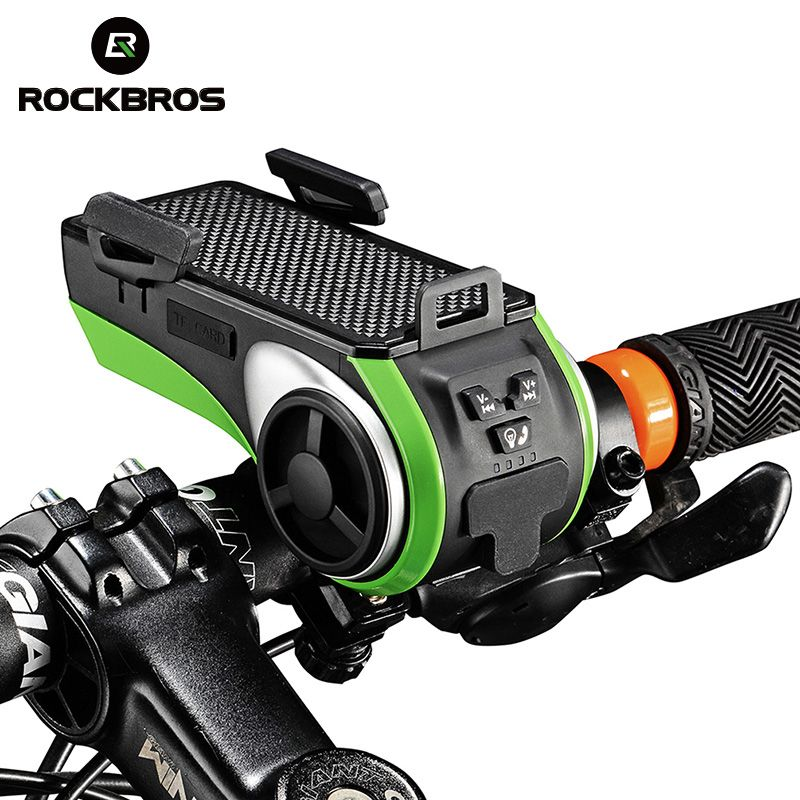 ROCKBROS Waterproof Bicycle Bike Phone Holder Bluetooth Audio MP3 Player Speaker 4400mAh Power Bank Bicycle Ring Bell Bike Light