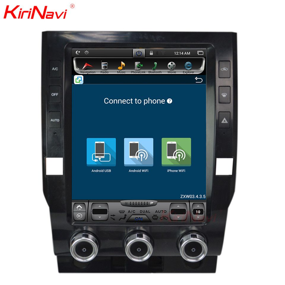 KiriNavi Vertical Screen Tesla Style 12.1 Inch android 6.0 Car DVD Player For Toyota Tundra Radio Navigation system 2014 2015