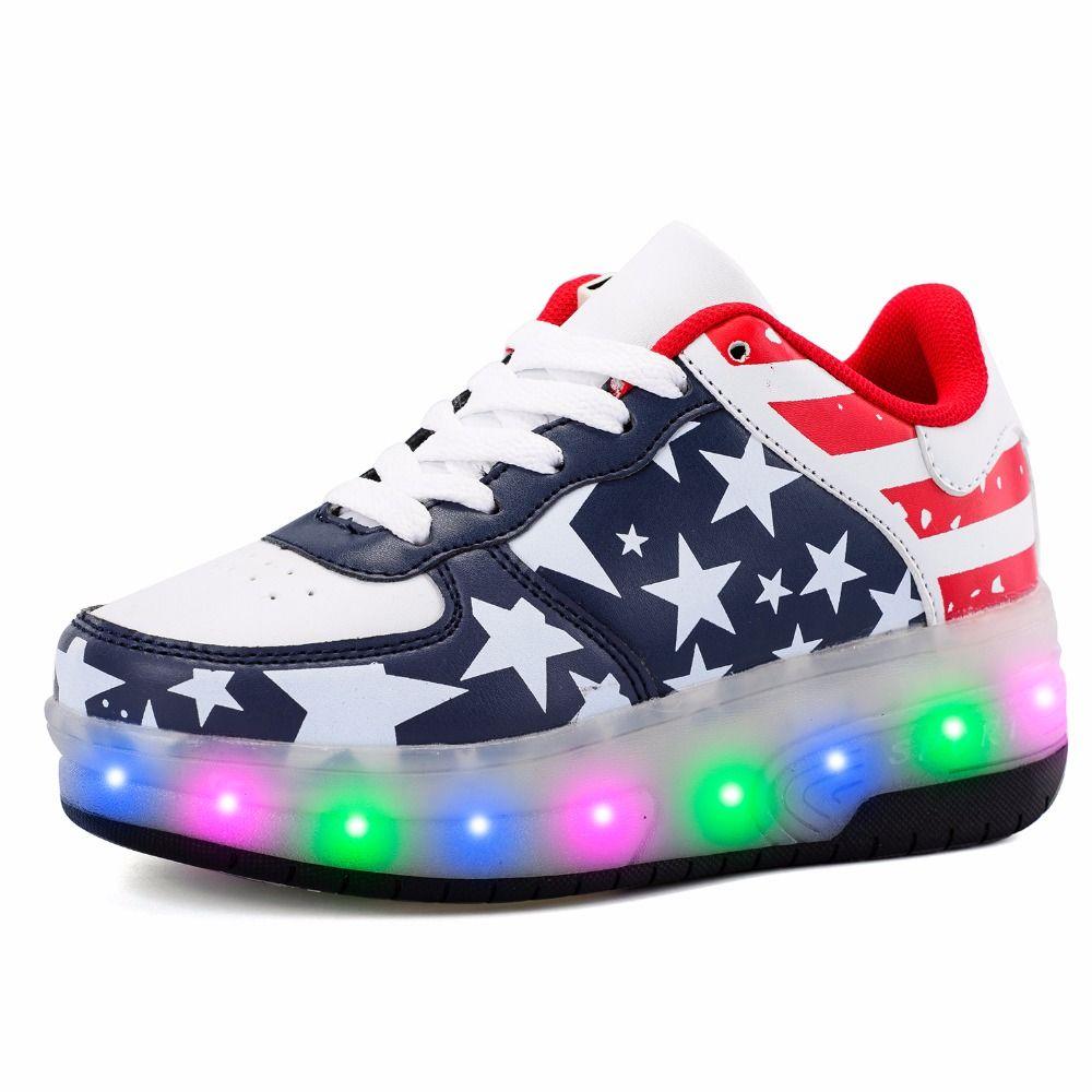Doble Rueda Recargable Brillante Zapatillas de Malla Transpirable de cuero de LA PU LED Luz Zapatos Casuales Niños Niñas Full Flash de Luz Plana 29-41
