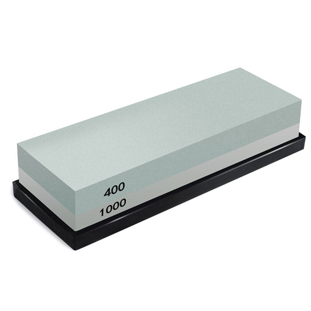 Whetstone, 2-IN-1 Sharpening Stone 400/1000 Grit Waterstones, Knife Sharpener Rubber Stone Holder Included