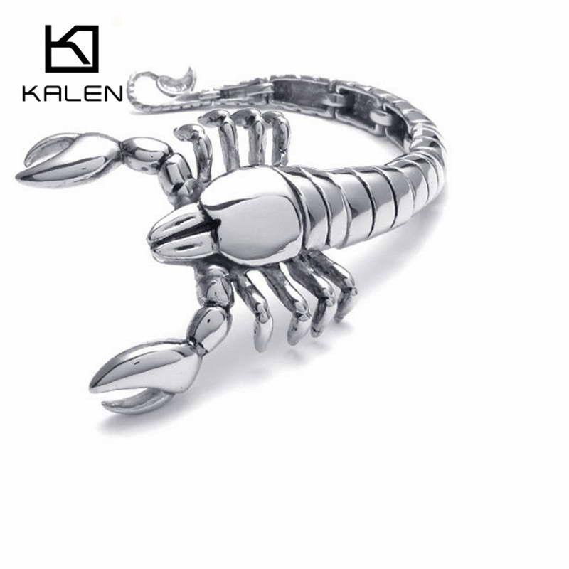 Kalen hombres escorpiones pulsera Acero inoxidable Rock escorpiones animales cabeza encanto pulsera brazalete masculino regalo de la joyería al por mayor