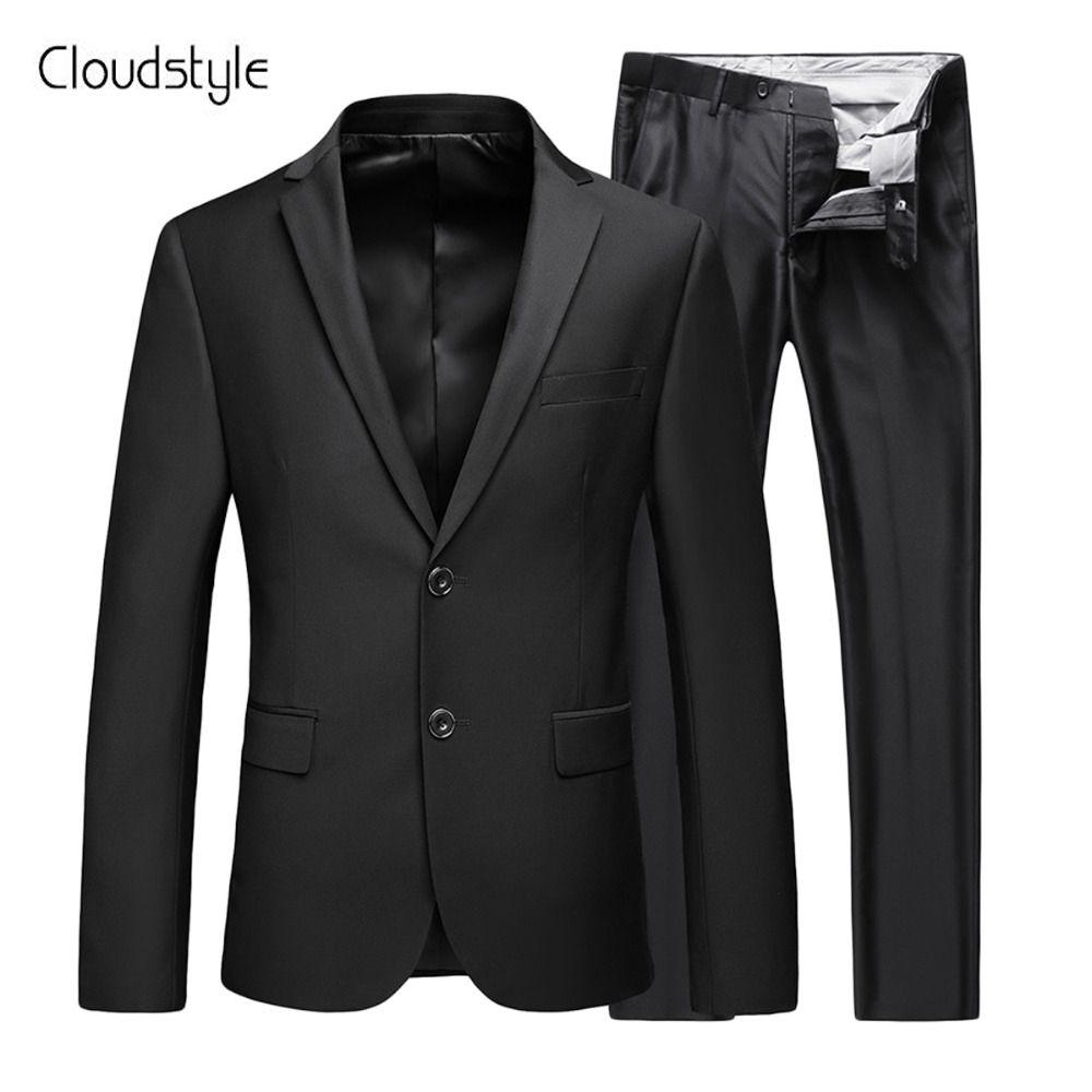 Cloudstyle Классическая (куртка + Штаны) черный модный бренд мужской Костюмы свадебное платье Бизнес официальная Вечеринка Slim Fit костюм Блейзер Д...