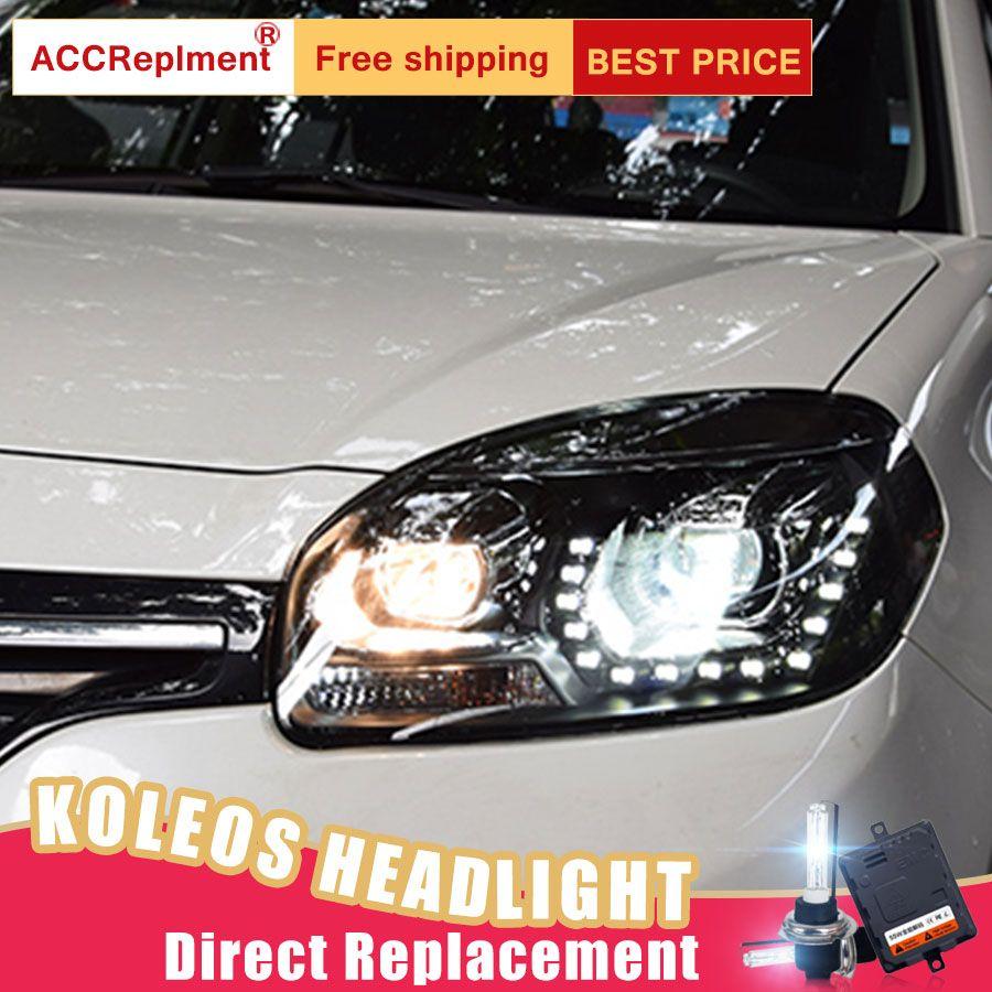 2Pcs LED Headlights For Renault Koleos 2013 led car lights Angel eyes xenon HID KIT Fog lights LED Daytime Running Lights