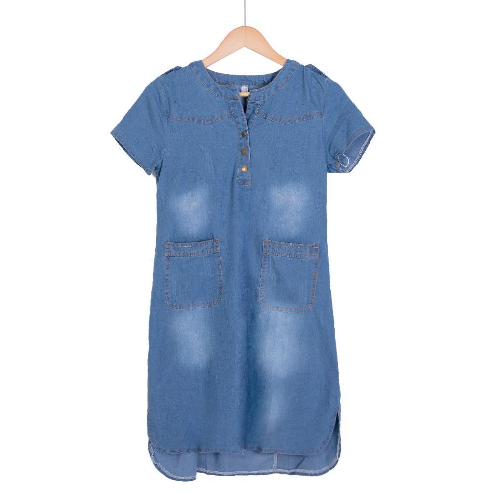 New Arrival Summer Women Denim Dresses Short Sleeves <font><b>Loose</b></font> A Line Dresses Plus Sizes V-neck Solid Jeans Dresses D74609J