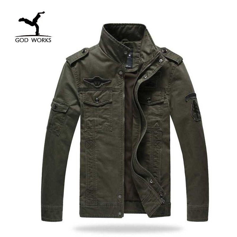 Для мужчин куртку жан военный Большие размеры 6xl солдат армии стиральная хлопка ВВС один мужской одежды Демисезонный Для мужчин S Куртки