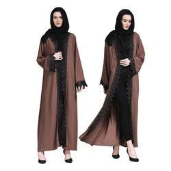 Date Robe Musulmane Dentelle Cardigan Islamique Hijab Robe Kimono Abaya Dubaï Islamique Vêtements Filles Hijab Longue Robe Arabe Pour Eid