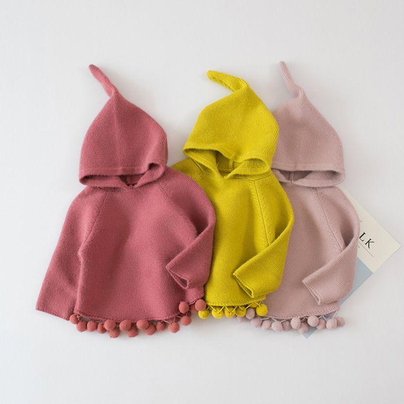 2017 Осень Новая мода для маленьких девочек 18 м-5 т плащ свитер Дети милый вязаный свитер с капюшоном детская одежда