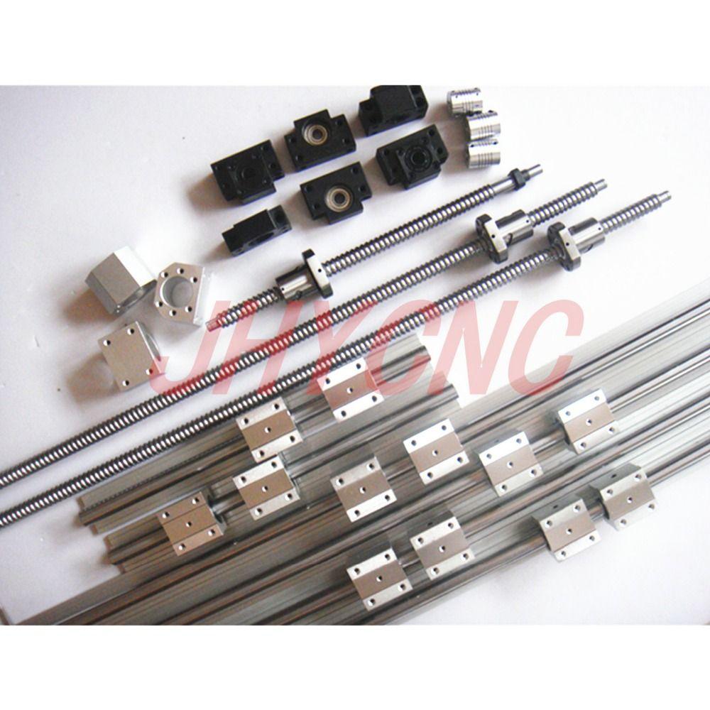 6 sets linear rail SBR20 L400/700/700mm+SFU1605-450/750/750mm ball screw+3 BK12/BF12+3 DSG16H nut+3 Coupler for cnc