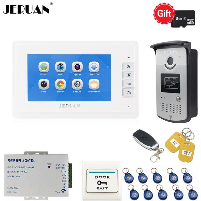 JERUAN New 7 inch LCD Video Intercom Door phone intercom system kit Voice/Video Recording Monitor + RFID Access control Camera
