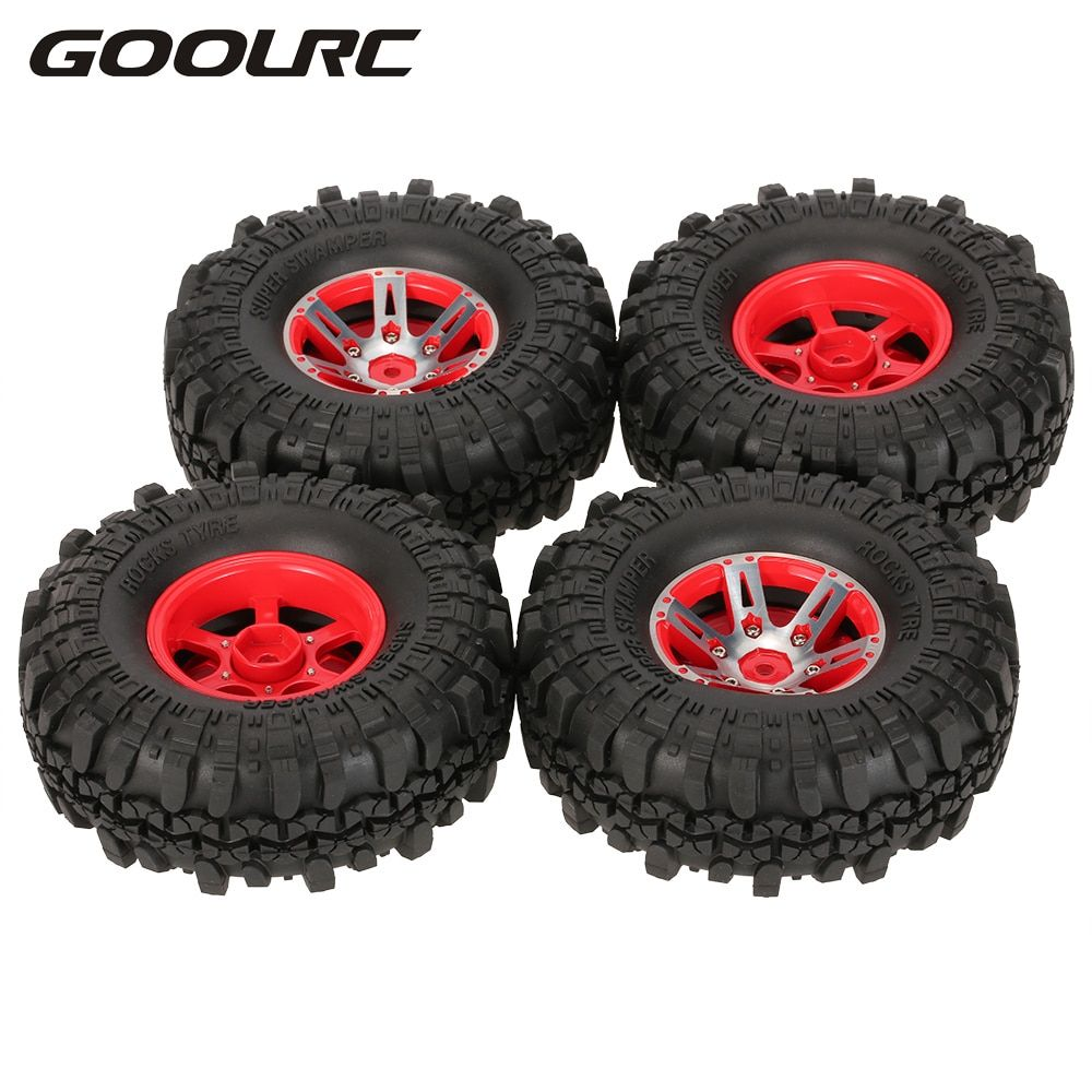 4Pcs AX-4020A 1.9 Inch 110mm 1/10 Rock Crawler Tires with Alloy Beadlock Wheel Rim for D90 SCX10 AXAIL RC4WD TF2 RC Car