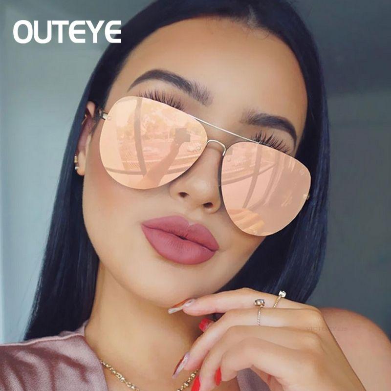 Rose Gold Sunglasses Women Men Shades 2018 Brand Designer Oversized Mirror Sun Glasses Female Metal Frame Sunglass Gafas De Sol