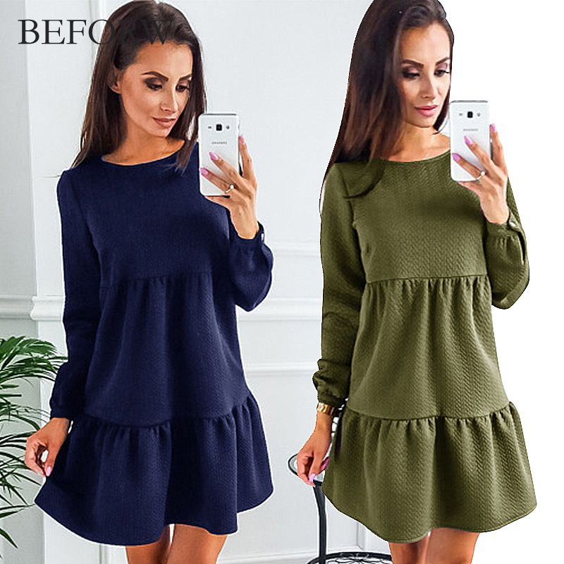 BEFORW New Arrive Women Dress Autumn And Winter Fashion Long Sleeve Dresses Blue Pink ArmyGreen Womens Clothing Sexy Dress