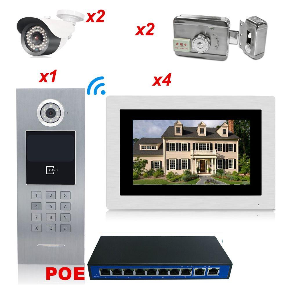 7 ''720 P WiFi IP Video Tür Telefon Video 4 Wohnungen Startseite Access Control System + 2 IP Kamera + 2 elektronische Schlösser