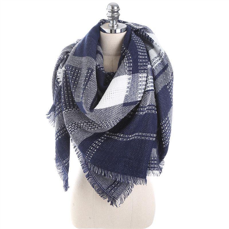 Зимние Элитный бренд шарф геометрический узор кашемировые теплые большой Размеры Одеяло шаль для Для женщин мода плед Шарфы для женщин