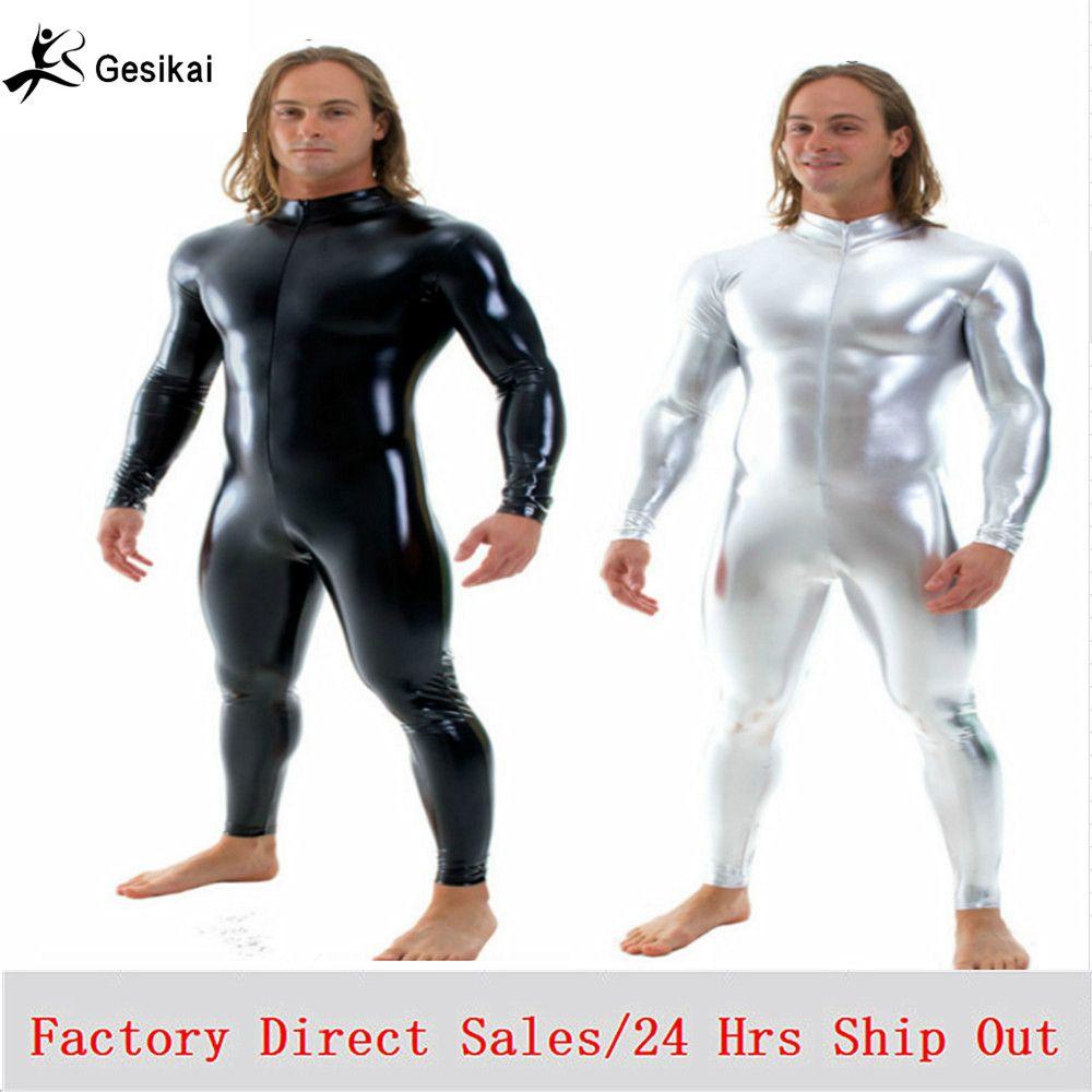 Livraison gratuite hommes brillants unités musculaires Stretch avant fermeture à glissière Zentai unités hommes scène Performance Costumes