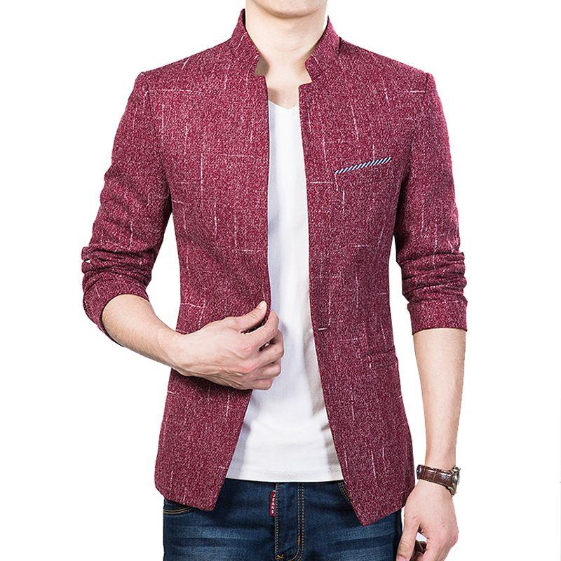Новое поступление 2016 сплошной цвет Slim Fit Мужские блейзер Модные мужские повседневные куртки Бизнес Верхняя одежда M-5XL cyg128