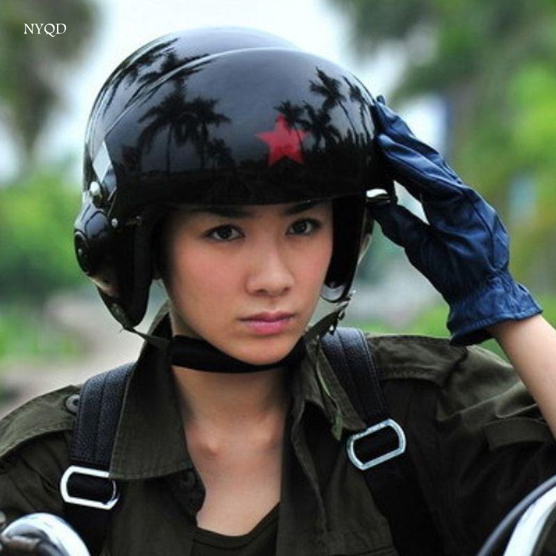 Cool !2017 new High quality TK Chinese Military Air Force Jet Pilot Open Face Motorcycle Green Helmet & Visor jet pilot helmet